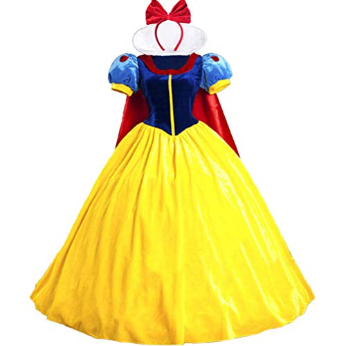 KUFV Women's Princess Costume Dress Snow White Princess Costume with Headband