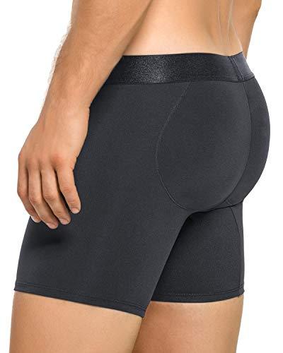 LEO Men's Butt Lifter Padded Underwear Boxer Brief Black (Butt Briefs Padded Mens)