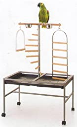 Large Parrot Playstand, Wrought Iron Parrot Bird Play Gym Ground Stand 37\