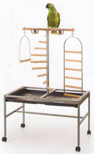 Large Parrot Playstand, Wrought Iron Parrot Bird Play Gym Ground Stand 37