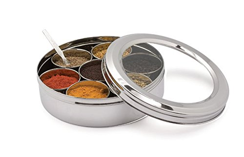 Shradha Trading Stainless Steel Transparent Masala Box/Spice Box/Masala Dabba/Spice Container - 7 Containers, Steel Masala Box/Masala Dabba/Spice Box, Kitchen Spice Box, Spice Box for Chefs