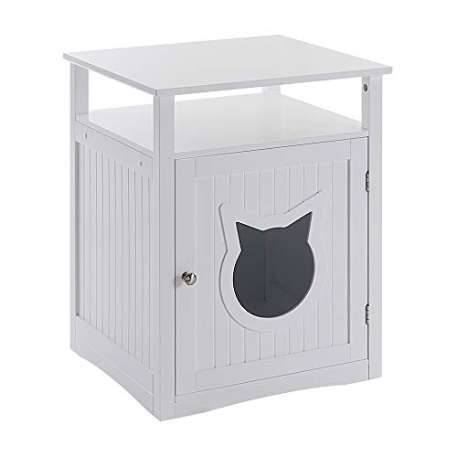 Sweet Barks Nightstand Pet House, Litter Box Furniture Indoor Pet Crate, Litter Box Enclosure, Cat Washroom (White)