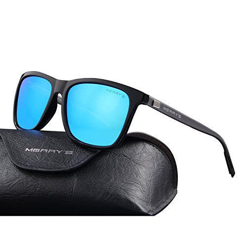 MERRY'S Unisex Polarized Aluminum Sunglasses Vintage Sun Glasses For Men/Women S8286 (Blue, - Men For Square Sunglasses