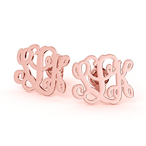 Ouslier Ouslier 925 Sterling Silver Personalized Stud Monogram Earrings Custom Made with 3 Initials (Rose Gold) price tips cheap