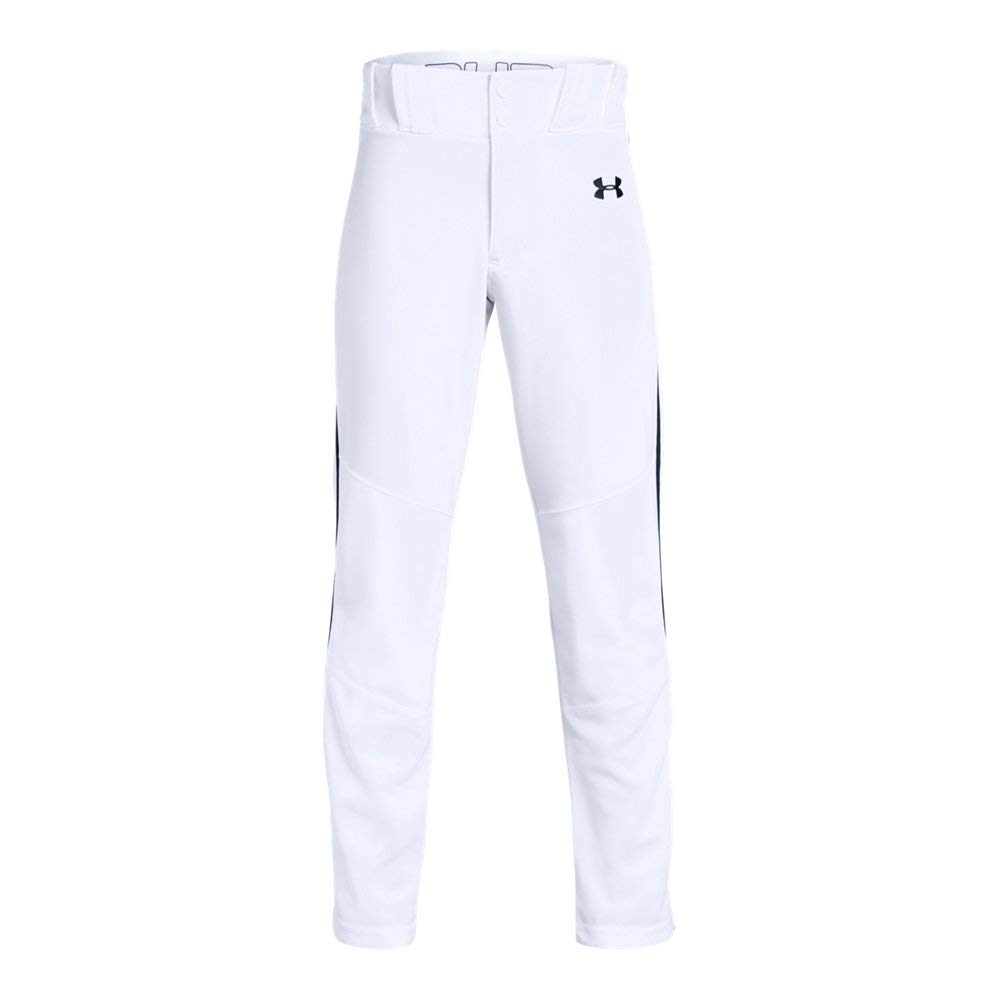 Under Armour Boys' Utility Relaxed Piped Baseball Pant, White (102)/Midnight Navy, Youth X-Small by Under Armour