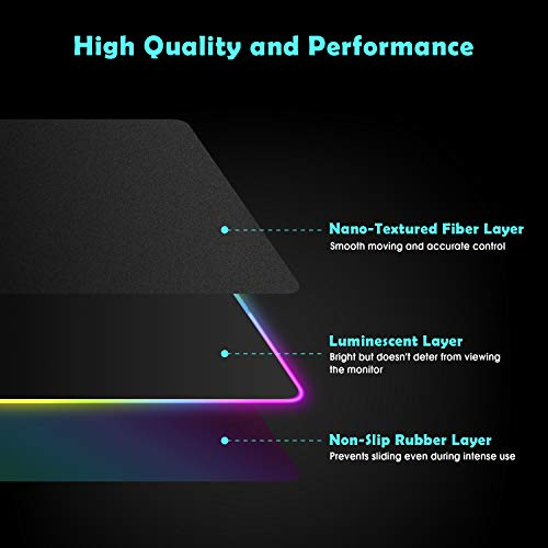 Large RGB Gaming Mouse Pad - 10 Light Modes Extended Computer Keyboard Mat with Durable Stitched Edges and Non-Slip Rubber Base, High-Performance Mouse Pad Optimized for Gamer 31.5X 11.8in Photo #3