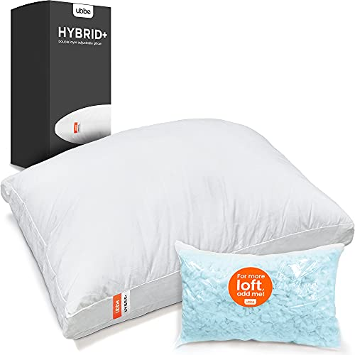 Ubbe Hybrid+ Adjustable Premium Bed Pillow for Sleeping | Microfibers and Shredded Blue Gel Memory Foam Pillow | Hypoallergenic | Double Layer | Soft Cotton Cover | CertiPur-US | (Queen 17.7x29in)