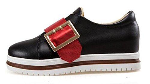 Showhow Donna Casual Punta Tonda Basso Alto Aumenta Mid Zeppa Piattaforma Moda Sneakers Nero