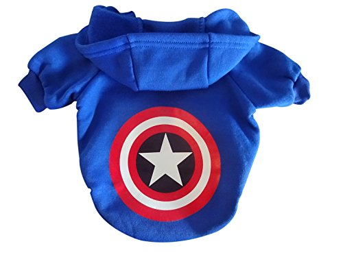 Captain America Cute Pet Hoodie Pet Clothing Superhero Dog Sweatshirt Soft Cotton Navy Blue Warm Dog Costume Dog Clothes in 4 SIZES: S, M, L, XL for Small Puppy, Medium Sized Dogs & Cats (Small) ()