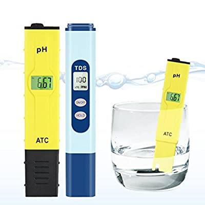Ph & TDS Meter Set, Combo of +/- 0.1ph High Accuracy Ph Meter and +/- 2% Readout Accuracy TDS Meter