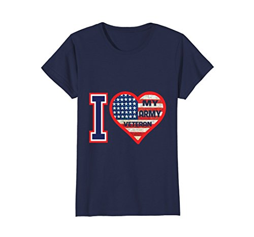 Womens I Love My Army Veteran Patriotic US Military T-Shirt Large Navy