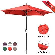 LCH 9 Ft 6 Ribs Patio Umbrella Outdoor Backyard Market Table Umbrella Sturdy Pole Push Button Easily Tilt Crank, Vibrant Red
