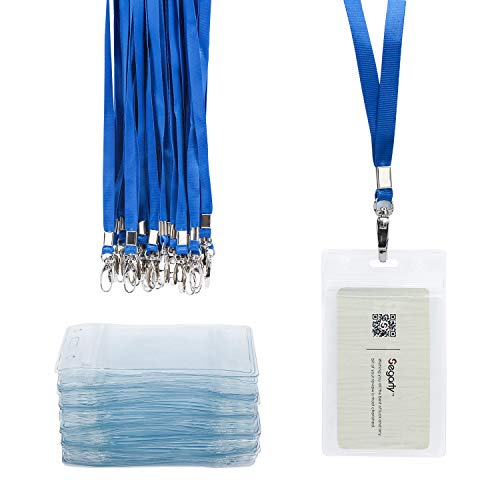 Badge Holder, 50pcs Segarty Clear Plastic Vertical Name Tag Badge ID Card Holders with Lanyards and Waterproof Type Resealable Zip
