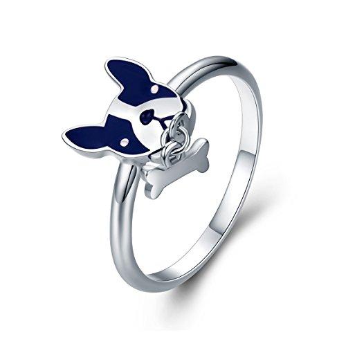 The Kiss French Bulldog & Dog Bone 925 Sterling Silver Ring, Size 6 ()