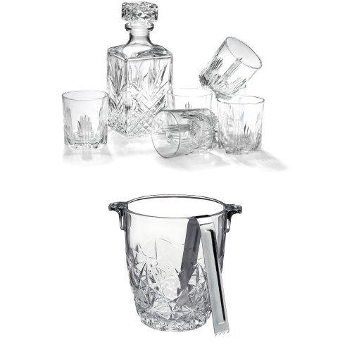 Bormioli Rocco 7-Piece Whiskey Gift Set and Ice Bucket Bundle