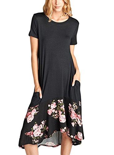 d9d2683d061 HOTAPEI Womens Summer Contrast Hi-Low Short Sleeve Midi Dress ...