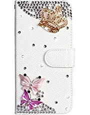 """Crystal Wallet Case for iPhone 6/6S 4.7"""",Aoucase Stylish Luxury 3D Handmade Crown Butterfly Design Bling Pocket Purse Soft Rubber Stand White Leather Case with Black Dual-use Stylus"""