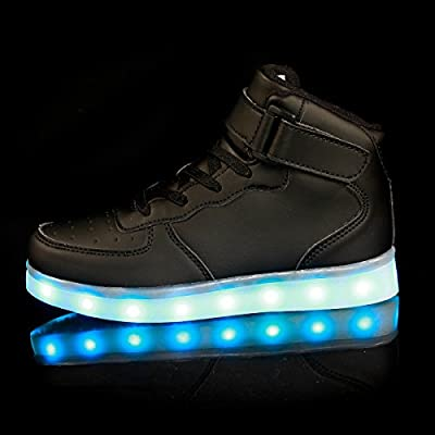 Qkettle Kids High Top LED Shoes Light Up USB Charging Boys Girls Sneakers