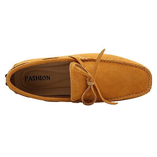 Rismart Mens Körning Tillfällig Mocka Läder Loafers & Slip-ons Båt Skor Gul