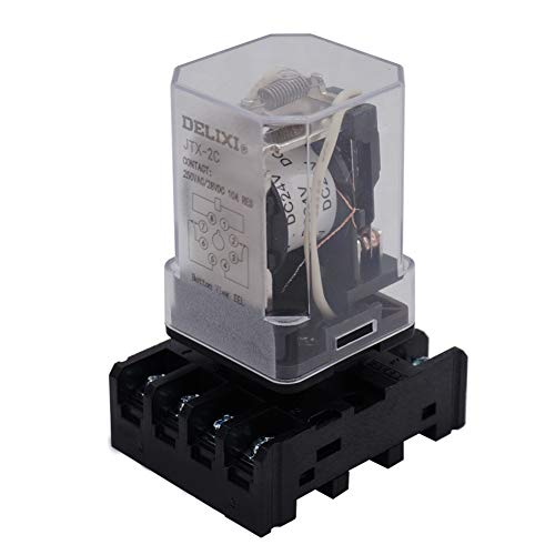 Mechanical Relay - TWTADE/JTX-2C, MK2P-I DPDT Power Relay with Plug-in Terminal Socket Base, DC 24V Coil, 8 Pin 2NO 2NC (Quality Assurance for 1 Years) DC 24V