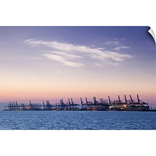 CANVAS ON DEMAND Wall Peel Wall Art Print Entitled Container Terminal at Sunset ()