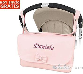 mibebestore - Bolso Polipiel Carrito bebe Personalizado con nombre bordado Modelo Solapa Rosa (envío 2/3 días laborables): Amazon.es: Bebé