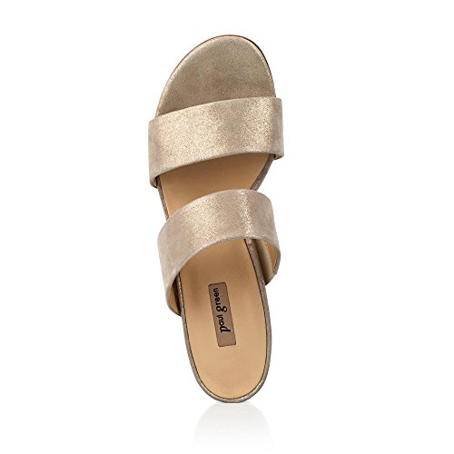 Elegante 102 45 Veloursleder 6016 Taupe Blockabsatz Damen Metallic in Pantolette mm gPxCT1wqE