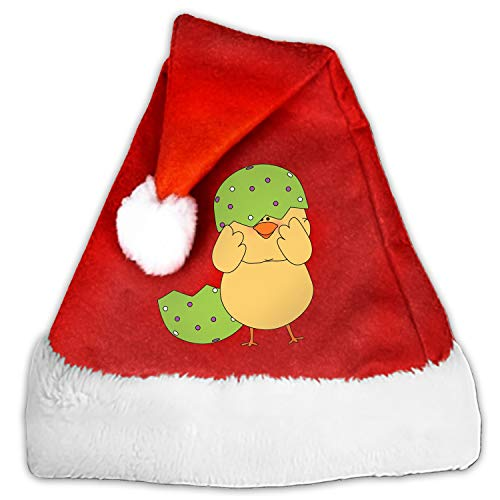 Easter Chick Stuck in Egg Shell Velvet Santa Hat with Plush Trim, Two Size Fits Most for Adult's and Child
