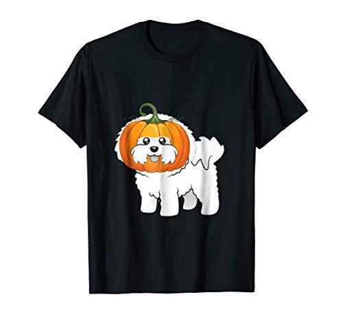 Bichon Frise Dog Pumpkin Halloween Costume Gift T Shirt -