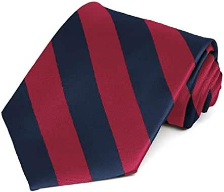 Crimson Red and Navy Blue Striped Tie