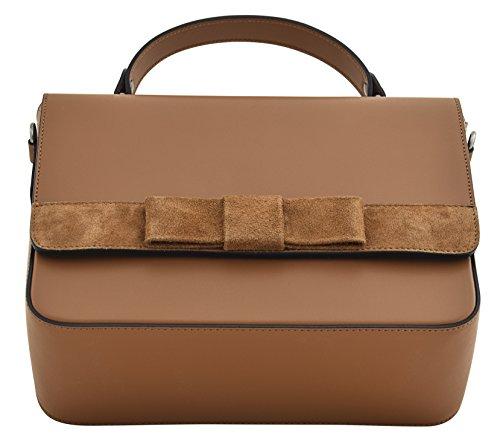 FRANCA Handtasche Italienisch Tasche Henkeltaschen Echtes Leder Made in Italy Cognac fQ21wMXfF