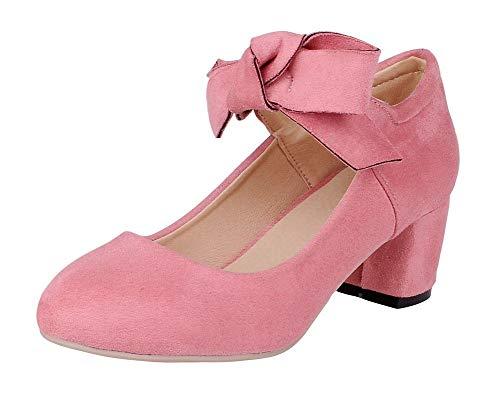 Trafilatura Punta Puro GMMDB008364 Flats AgooLar Donna Ballet Rosa Chiusa Tacco Medio 5WnnOUgS