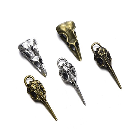 zhangdongDIY 15pcs Mix Style Antique Alloy Phantom Raven Bird Skull Head Pendant Charms Necklace Finding For Jewelry Making ()