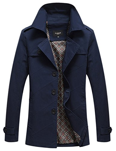 Chouyatou Men's Classic Collared Single Breasted Lightweight Cotton Jacket Navy blue
