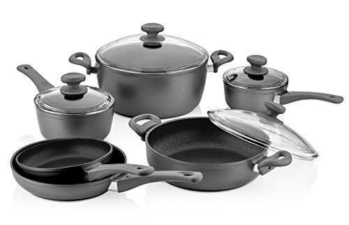 Saflon Titanium Nonstick 10-Piece Cookware Set, 4mm Forged Aluminum with PFOA Free Scratch-Resistant Coating from England, Dishwasher Safe