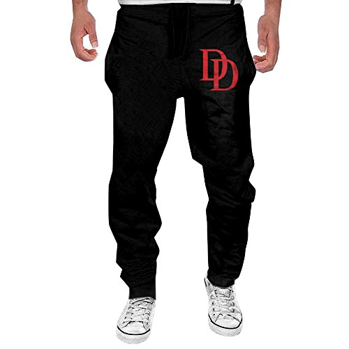 WaHaHa Marvel Daredevil Logo Costume Adult T-shirt Men's Sweatpants Black Size XXL (Wimpy Adult Costume)