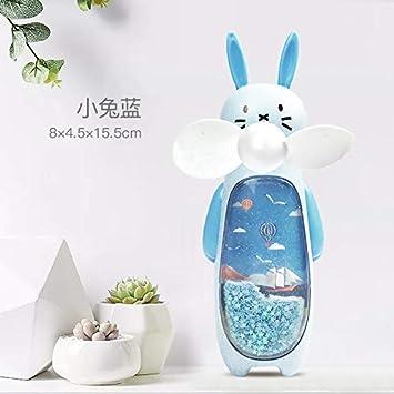 Quicksand Small Fan USB Charging Portable with Night Light Rabbit Fan Cartoon Handheld Mini Fan Bear Powder 14.8Cm8Cm