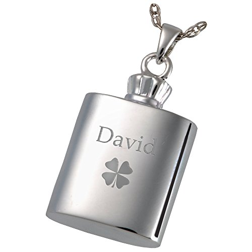Cremation Memorial Jewelry: Sterling Silver Flask + Text Engraving