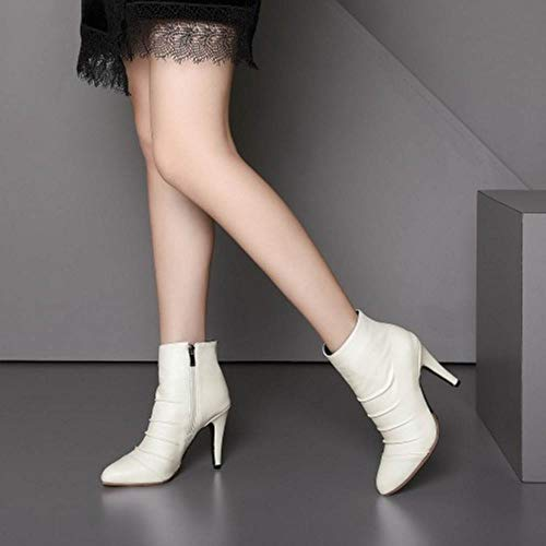 Hiver Blanc Chaussures Pointu Bottines Bout Femmes Taoffen 578qYw0A
