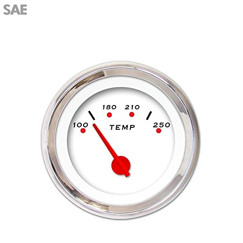 Red Modern Needles, Chrome Trim Rings, Style Kit Installed Aurora Instruments 1401 Pegged White SAE Water Temperature Gauge