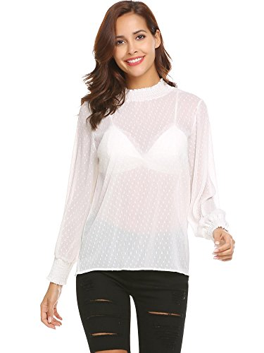 - Grabsa Women's Clubwear Lantern Sleeve Sheer See Through Mesh Tops Tee Blouse White XXL