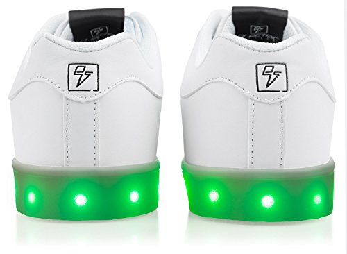 Light Up Shoes - Bolt Low Top, 6 B(M) US White by Electric Styles (Image #2)