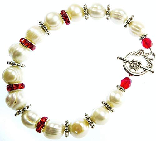 Swarovski Toggle - Handmade Bracelet White Cultured Freshwater Pearls, Ruby Red Swarovski Crystals and Swarovski Rhinestone Beads Toggle Clasp Easy to Use, July Birthstone
