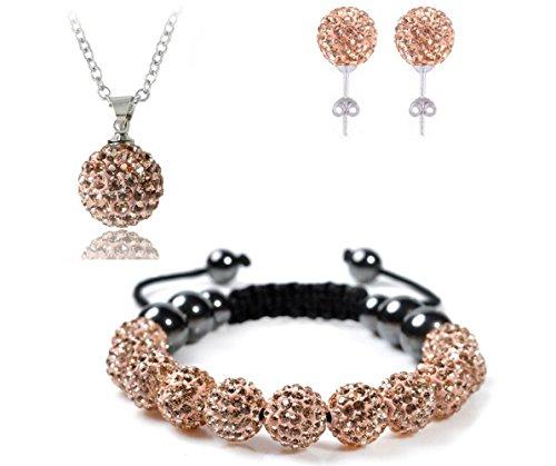 Bharatanatyam Costumes Blue - AdamEva Factory - Crystal Shamballa Disco Balls Sets Jewelry Set [Necklaces Pendants / Bracelet / Earring Studs] (Orange)