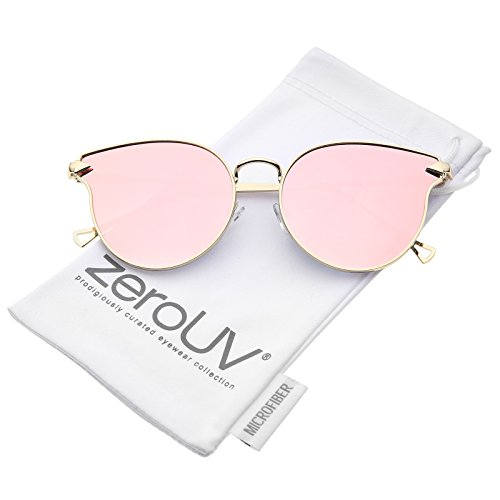 zeroUV - Metal Frame Arrow Temples Cateye Sunglasses For Women With Colored Mirror Flat Lens 58mm (Gold/Pink -