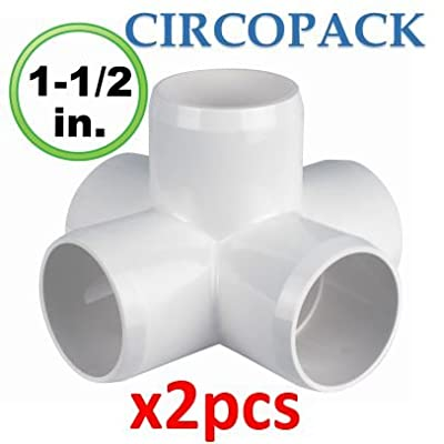 "CIRCOPACK 5 way X cross – 1½ inch fitting connectors for 1½"" standard PVC pipes (2 pieces)"