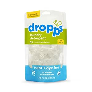 Dropps HE Laundry Detergent Pacs, Scent + Dye Free, 20 Counts (Pack of 3)