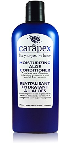 Carapex Aloe Moisturizing Conditioner, Fragrance Free for Color Treated & Damaged Hair, with Natural Proteins, Hemp Oil, Coconut Oil, Sulfate Free, Paraben Free, Silicon Free, Promotes Volume, 8 oz (Conditioner Moisturizing Hair Hemp)