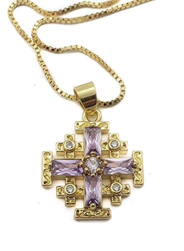(Gold Plated Silver Catholic Jerusalem Cross Pendant Purple Topaz Crystal Stone Necklace 20