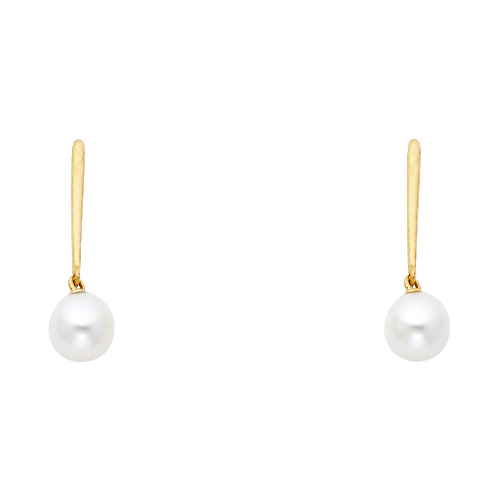 Wellingsale 14K Yellow Gold Polished Freshwater Cultured Pearl Dangle Stud Earrings With Screw Back